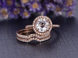 1.10ctw AAA Morganite & Diamond 14K Rose Gold Over Silver 3pcs Bridal Ring Set - $119.99