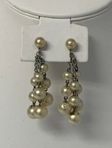 Vintage Dangle Drop 3 Strand Peral Clip On Earrings - $16.45
