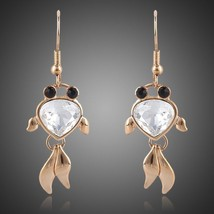 18K Real Gold Plated Stellux Austrian Crystal Black Eyes Goldfish Drop Earrings - $15.00