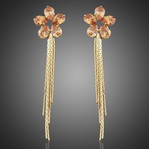 Sunflower 18K Real Gold Plated with Champagne Gold Cubic Zirconia Drop Earrings - $19.00
