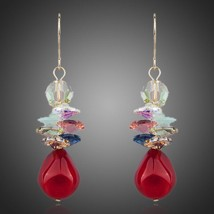 Red Grapes 18K Gold Plated Water Drop Stellux Austrian Crystal Drop Earring - $25.00