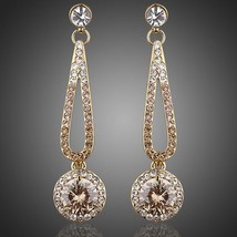18K Gold Plated Round Cubic Zirconia Drop Earrings - $18.00