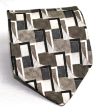 Zylos by George Machado 100% Silk Neck Tie Geometric  Taupe Browns Black - $7.43