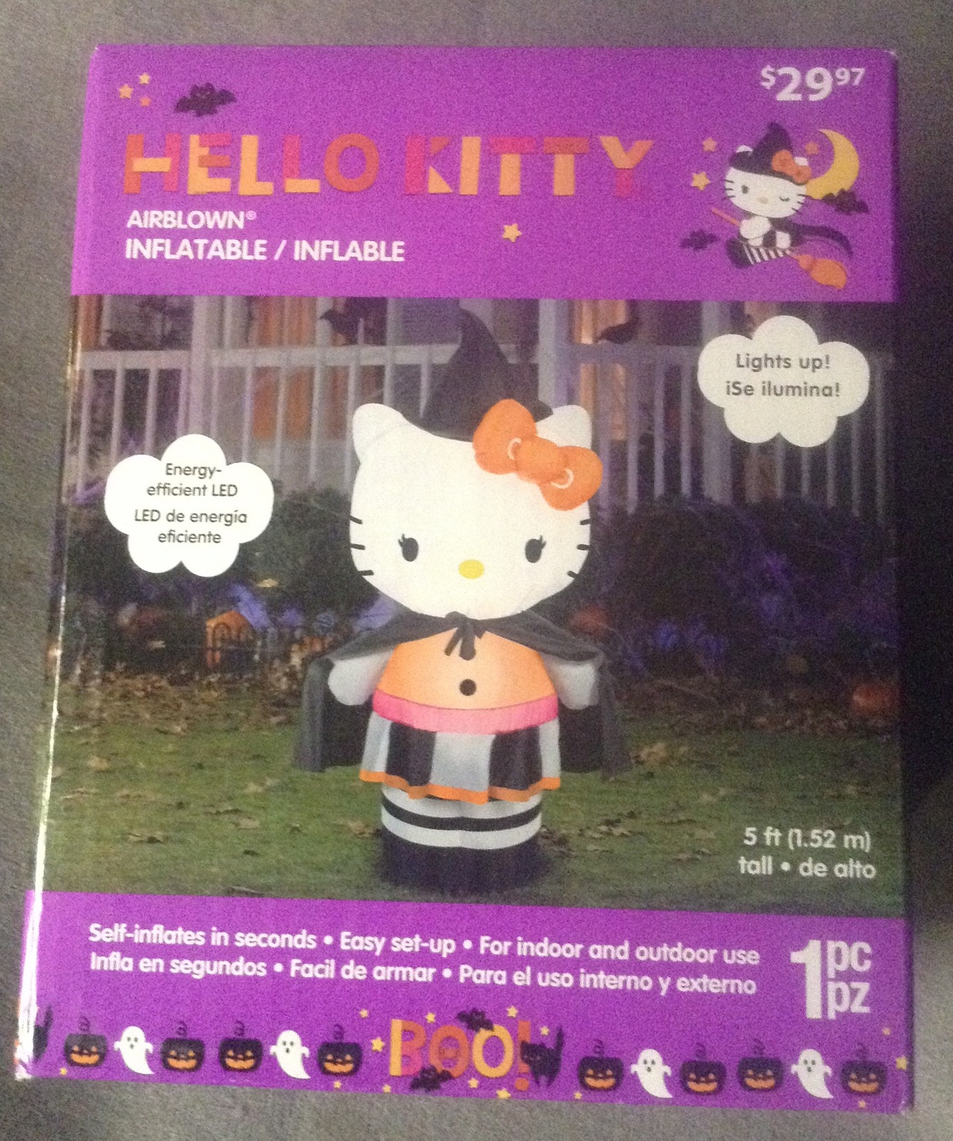 5 foot Indoor Outdoor Inflatable Hello Kitty Witch Halloween Decoration AirBlown