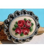 Vintage Needlepoint Embroidered Brooch Pin Petit Point Roses Flowers - $19.95