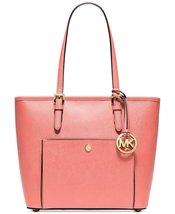 Michael Kors Jet Set Medium Top Zip Snap Pocket Tote grapefruit pink - $236.61