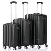 3pcs Black 3-in-1 Large Capacity Traveling Storage Suitcase Plastic Metal - $98.18