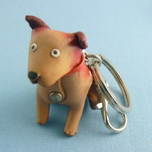 Leather Dog Spuds Tan Keychain Key Chian Ring (KEY201) - $8.00