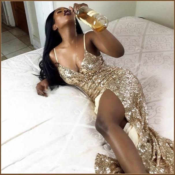 Evening Goddess Gold Sequin V Neck Empire Waist Spaghetti Strap Hollywood Gown