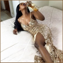 Evening Goddess Gold Sequin V Neck Empire Waist Spaghetti Strap Hollywood Gown image 4