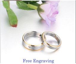 Free Engraving forever love titanium steel 2 pcs couples ring set, promi... - $725,25 MXN
