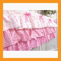 "valances curtain pink ruffle cotton window treatment kitchen bedroom 39 x12"" - $32.50"