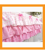 valances curtain pink ruffle cotton window trea... - $31.50