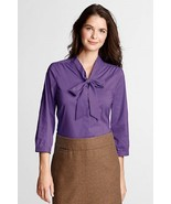 NEW LANDS END PLUS SIZE 32W PURPLE 3/4 SLEEVE TIE STRETCH SHIRT TOP DRES... - $8.79