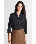NEW LANDS END PLUS SIZE 34W BLACK 3/4 SLEEVE TIE STRETCH SHIRT TOP DRESS... - $9.74