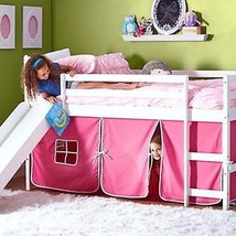 Kids Bunk Beds with Slide and Pink Tent - $494.01