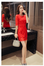 pf084 Elegant lace dress w short sleeve ,Size s-2xl, red - $18.80