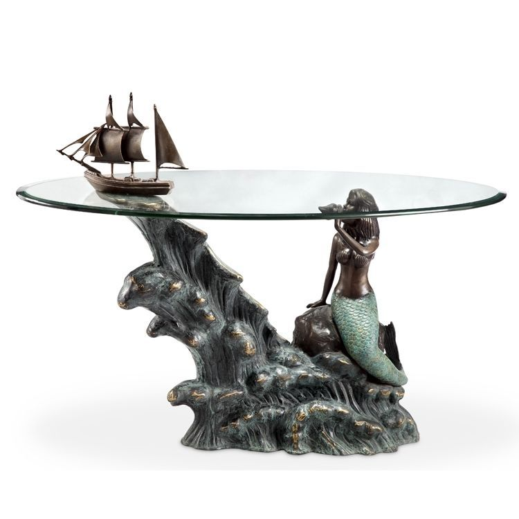 Mermaid schooner brass glass coffee table coastal for Mermaid coffee table
