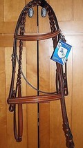 Bobby's COB Sz Platinum English Leather Light Brown Padded Bridle w/Reins - $169.75
