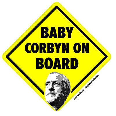 Baby Jeremy Corbyn on Board self cling vinyl car window sticker 14cm Labour