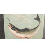 EUC Framed Warren Kimble Folk Art Print Lake Trout Fishing Lodge Cabin Decor - $57.87