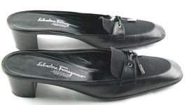 Salvatore Ferragamo Mule Heels Womens Sz 8.5 2A Black Leather Slip On Shoes - $22.50