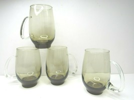 4 Vintage Libbey Tempo Smoke Brown Glass Clear Handle Mugs Drink Tumblers Retro - $19.77