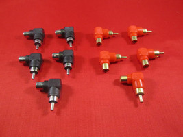 Lot of 10, RCA Male to Female Right Angle Adapter 90 Degree, Black and Red. - $9.46