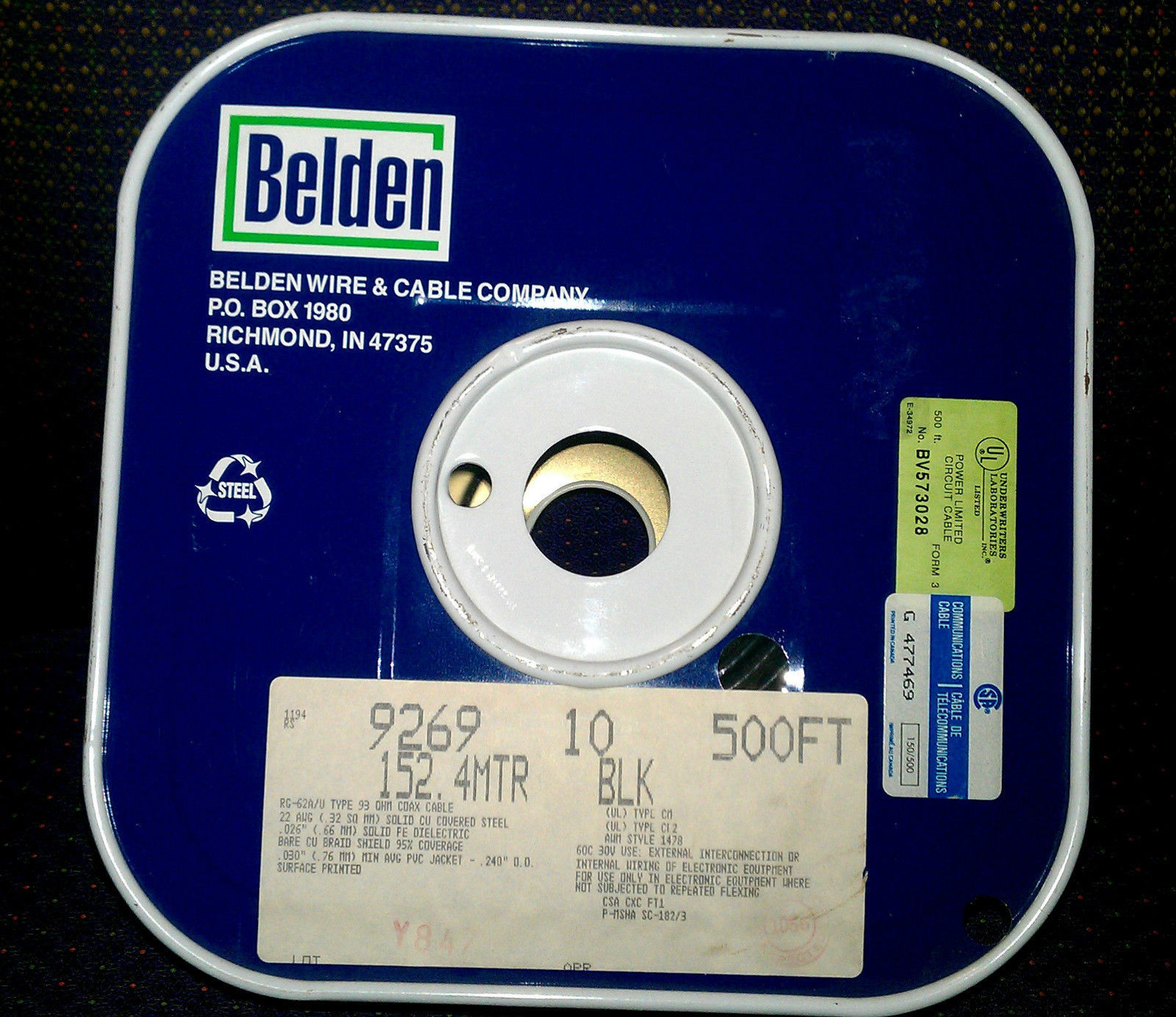 Belden 9269 Coaxial Cable, RG-62A/U, Black, and similar items