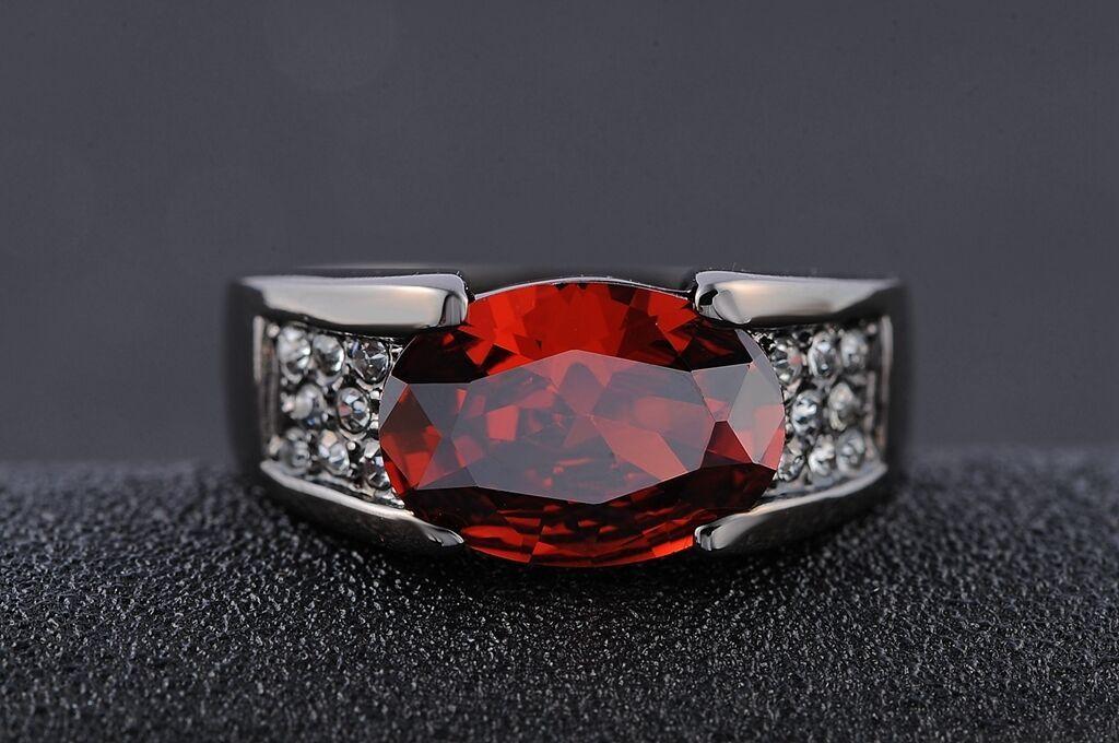 1.50Ct Men's Halo Oval Cut Red Garnet Engagement Ring Band 14k Black Gold Finish