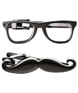 Yoursfs Gunmetal Mustache Tie Clip Black Vintage Funny Pins with Eye Gla... - $13.19