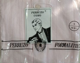 PERRUZO UOMO Pleated Dress Tuxedo Button Front Shirt Long Sleeve Pink Sm... - $24.26