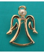 Angel Pin / Brooch with Pearl  & Crystal - $6.99