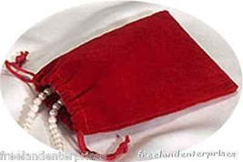 Jewelry Pouch Velour/Velvet type Pouch Lot of 5 Red Color - $4.90