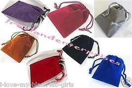 """Jewelry Pouches Velour-Velvet type Pouches 1 of each X 7 Colors ~ 3"""" x 4... - $6.88"""