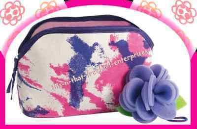 Make Up Naturals Canvas Make-Up Toiletry Bag & Sponge NEW