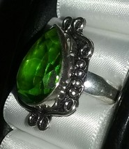 Green Glass Crystal Silver Ring Jewelry Accesso... - $7.50