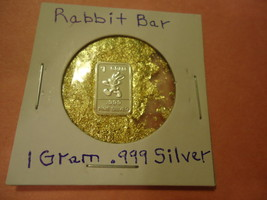 "ONE GRAM (.999) SILVER-RABBIT  & BAG OF FLAKES WITH ""MINUTE"" 24K GOLD PA... - $2.50"