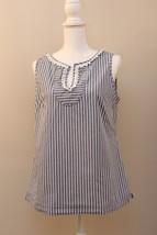 Women's Talbots Blue White Stripe Career Sleeveless Top Size 12 Loop Det... - $11.62