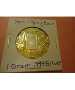 """ONE GRAM (.999) SILVER-YIN YANG  & BAG OF FLAKES WITH """"MINUTE"""" 24K GOLD ... - $2.50"""