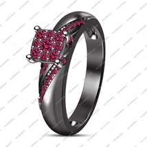 14K Black Gold Plated 925 Silver Round Cut Pink Sapphire Women's Engagem... - ₨6,496.55 INR