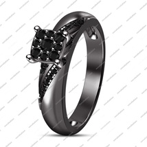 An item in the Jewelry & Watches category: Black Rhodium Plated 925 Sterling Silver Round Black CZ Engagement Wedding Ring