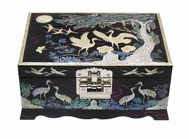 Mother of pearl wood  trinket jewelry box jewel case organizer purple crane - €102,99 EUR