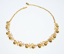 vintage purple rhinestone choker necklace gold shell shaped - $7.42