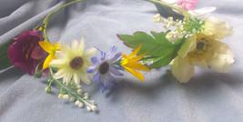 Handmade in USA multicolor Flower Crown Headband Floral Halo Boho Festival Head  - $14.99