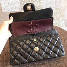 NEW AUTH CHANEL 2019 SMALL Quilted Lambskin Classic Black Double Flap Bag GHW image 7