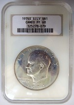1974 S Eisenhower (Ike) Ngc Pf 68 Cameo 40% Silver Dollar Blue Toning Halo Coin - $59.99