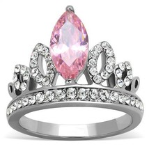 Silver Stainless Steel Pink Cubic Zirconia Crown Design Fashion Ring Size 7 - $15.74