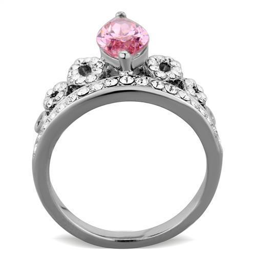 SILVER STAINLESS STEEL PINK CUBIC ZIRCONIA CROWN DESIGN FASHION RING SIZE 7
