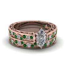 Marquise Shaped CZ Antique Wedding Ring Set With Emerald 14K Rose Gold Finish - $97.99